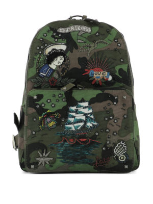 Valentino Garavani: backpacks - Tattoo embroidered Camu backpack