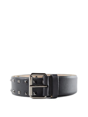 VALENTINO GARAVANI: cinture - Cintura nera Rockstud in pelle