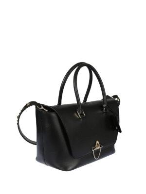 Valentino Garavani: bowling bags online - Demilune black leather satchel