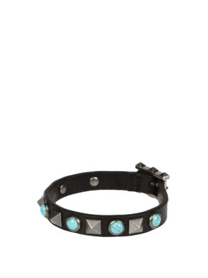 Valentino Garavani: Bracelets & Bangles - Light blue stones leather bracelet