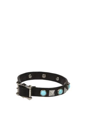 Valentino Garavani: Bracelets & Bangles online - Light blue stones leather bracelet