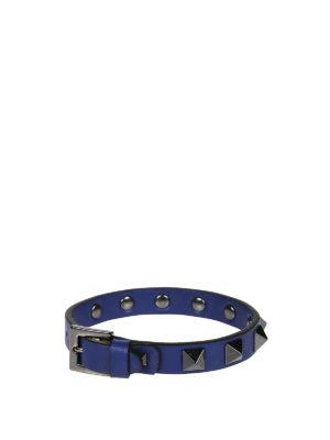 Valentino Garavani: Bracelets & Bangles online - Rockstud blue leather bracelet