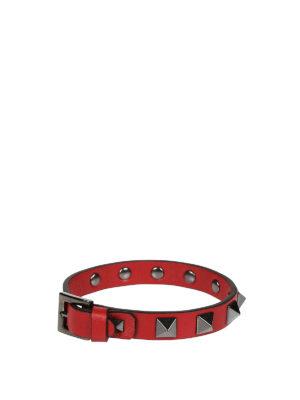 Valentino Garavani: Bracelets & Bangles online - Rockstud red leather bracelet
