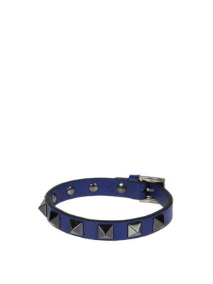 Valentino Garavani: Bracelets & Bangles - Rockstud blue leather bracelet