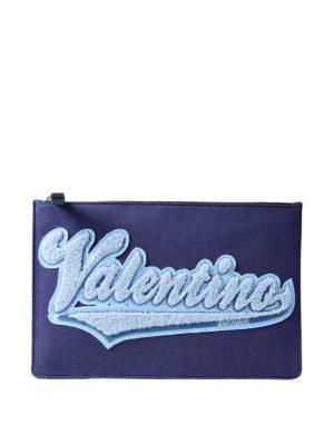 VALENTINO GARAVANI: pochette - Busta in canvas blu logo in spugna
