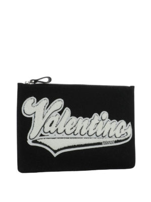 Valentino Garavani: clutches online - Logo print clutch