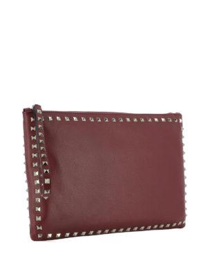 Valentino Garavani: clutches online - Rockstud dark red leather clutch