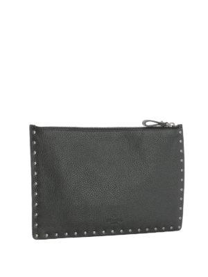 Valentino Garavani: clutches online - Rockstud leather flat pouch