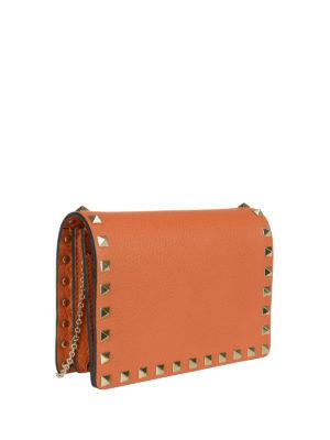 Valentino Garavani: clutches online - Rockstud pebble leather clutch