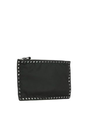 Valentino Garavani: clutches online - Studded canvas clutch
