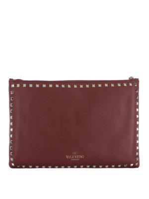 Valentino Garavani: clutches - Rockstud dark red leather clutch