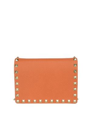Valentino Garavani: clutches - Rockstud pebble leather clutch