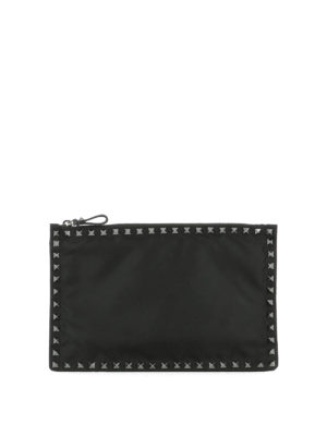 Valentino Garavani: clutches - Studded canvas clutch