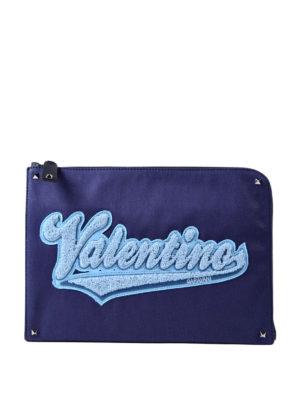 VALENTINO GARAVANI: pochette - Porta documenti blu con logo
