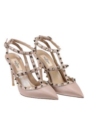 Valentino Garavani: court shoes online - Rockstud leather slingback pumps