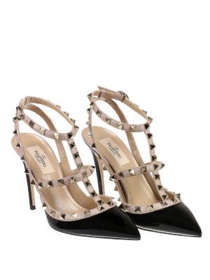 Valentino Garavani: court shoes online - Rockstud patent slingback pumps