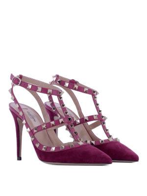Valentino Garavani: court shoes online - Rockstud purple suede pumps