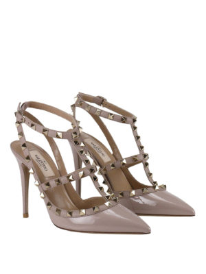 Valentino Garavani: court shoes online - Rockstud varnished slingback pumps