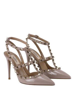 Valentino Garavani: court shoes online - Rockstud varnished slingback pumps