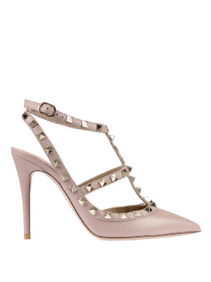 Valentino Garavani: court shoes - Rockstud leather slingback pumps