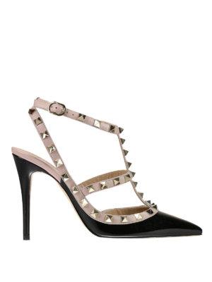 Valentino Garavani: court shoes - Rockstud patent slingback pumps