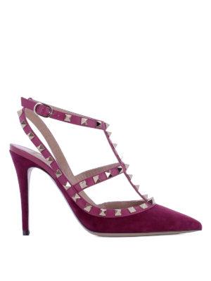 Valentino Garavani: court shoes - Rockstud purple suede pumps