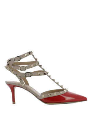 Valentino Garavani: court shoes - Rockstud red patent leather sandals