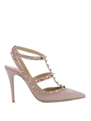 Valentino Garavani: court shoes - Rockstud suede and leather pumps