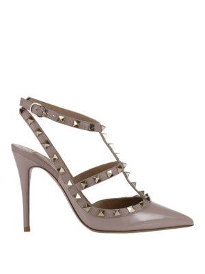 Valentino Garavani: court shoes - Rockstud varnished slingback pumps