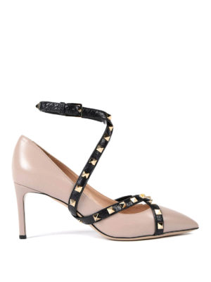 Valentino Garavani: court shoes - Studded strap leather pumps