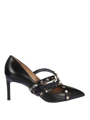 VALENTINO GARAVANI: scarpe décolleté - Décolleté Studwrap in pelle nera