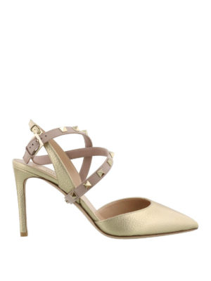 VALENTINO GARAVANI: scarpe décolleté - Slingback Studwrap in pelle dorata