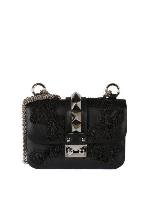 Valentino Garavani: cross body bags - Embroidered butterflies leather bag