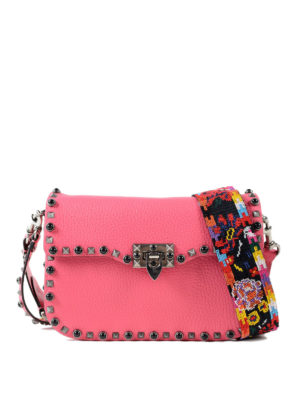 Valentino Garavani: cross body bags - Guitar Rockstud pink bag