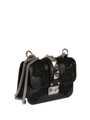 Valentino Garavani: cross body bags online - Embroidered butterflies leather bag