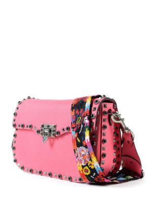 Valentino Garavani: cross body bags online - Guitar Rockstud pink bag