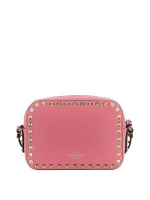 Valentino Garavani: cross body bags online - Rockstud pink leather crossbody
