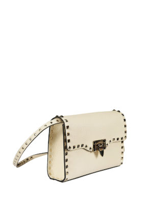 Valentino Garavani: cross body bags online - Rockstud small ivory cross body bag