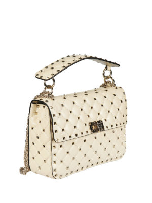 Valentino Garavani: cross body bags online - Rockstud Spike medium ivory bag