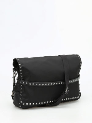 Valentino Garavani: cross body bags online - Studded nylon messenger bag