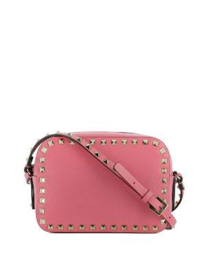 Valentino Garavani: cross body bags - Rockstud pink leather crossbody