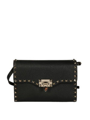 Valentino Garavani: cross body bags - Rockstud small black cross body bag