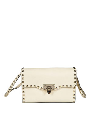 Valentino Garavani: cross body bags - Rockstud small ivory cross body bag