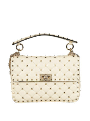 Valentino Garavani: cross body bags - Rockstud Spike medium ivory bag