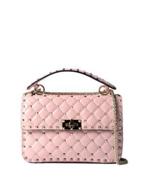 VALENTINO GARAVANI: borse a tracolla - Tracolla Rockstud Spike media rosa
