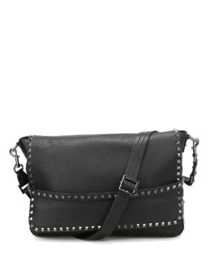 Valentino Garavani: cross body bags - Studded leather messenger bag