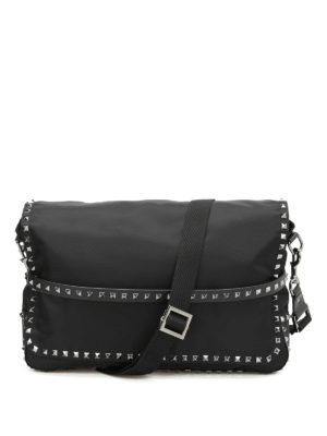 Valentino Garavani: cross body bags - Studded nylon messenger bag