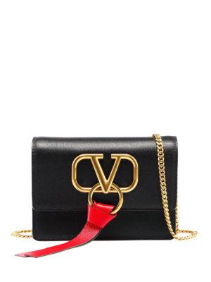 b62a300e25563c VALENTINO GARAVANI: borse a tracolla - Borsetta V-Ring in pelle