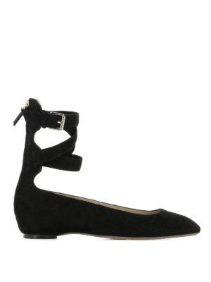 Valentino Garavani: flat shoes - Ankle wrap suede flats