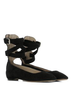 Valentino Garavani: flat shoes online - Ankle wrap suede flats